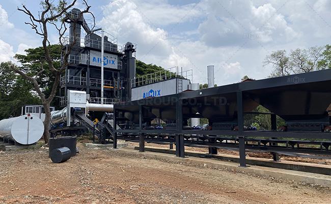 Aimix 100 ton/h stationary asphalt mixing plant in Sri Lanka