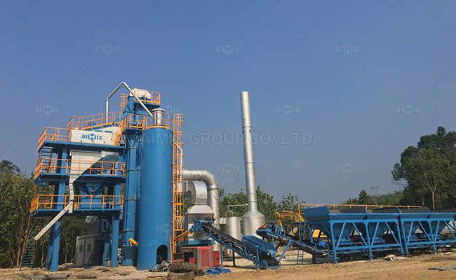 Aimix 80 ton/h stationary asphalt mixing plant in Indonesia